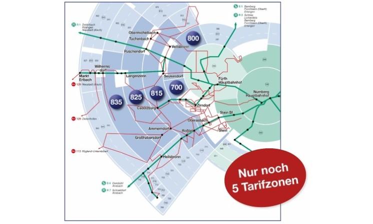 Informationen zur Neuordnung der Tarifzonen im Landkreis Fürth
