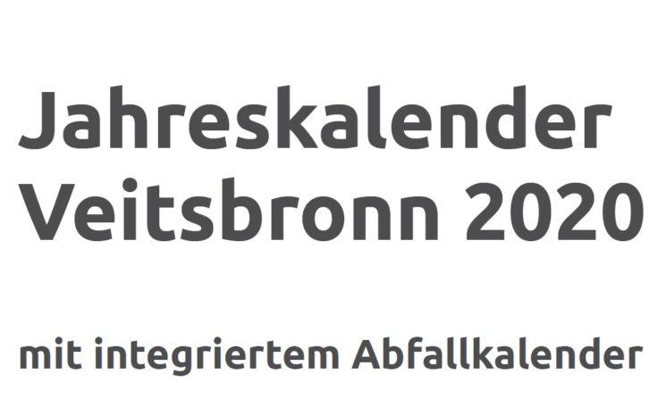 Jahreskalender Veitsbronn 2020