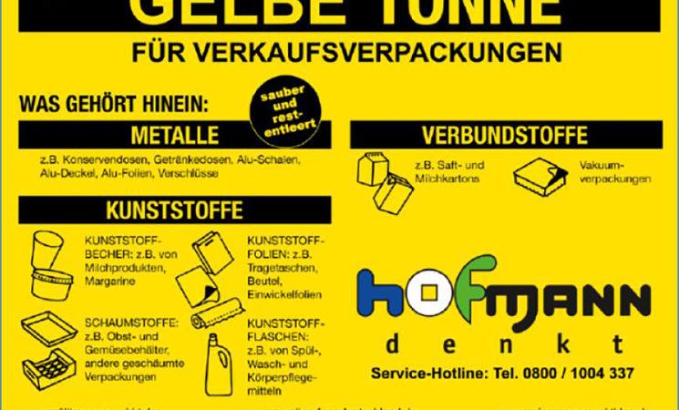 Ab 01.01.21: Gelbe Tonne ersetzt Gelben Sack